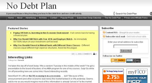 Subscriber Swap Monday: No Debt Plan