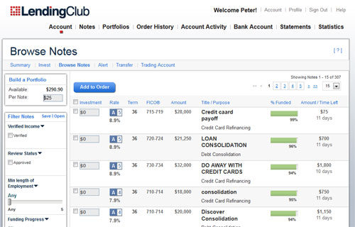 Lending Club Browse Notes