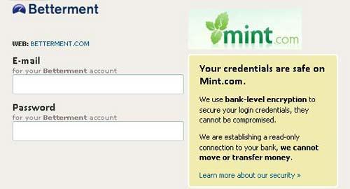Betterment Mint Integration