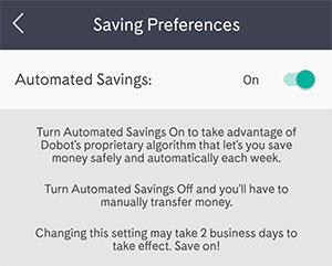 dobot automatic savings