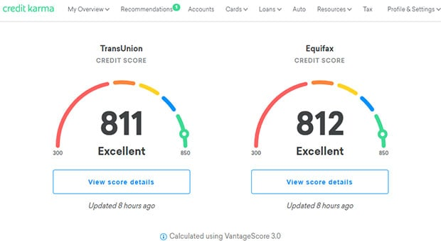 Credit Karma Equifax and Transunion Credit Score