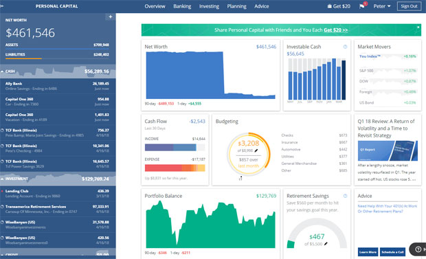 Guide To Robo-Advisors - Personal Capital dashboard