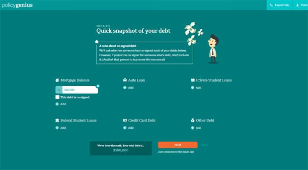 Policygenius debt snapshot