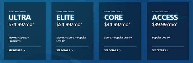 Playstation Vue Package prices