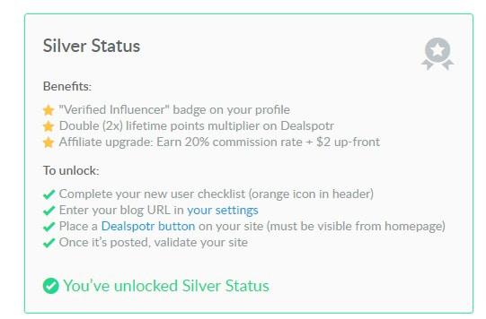 Dealspotr silver status