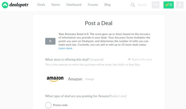 Dealspotr post a deal