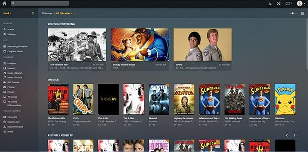 Plex Media Server Home Dashboard