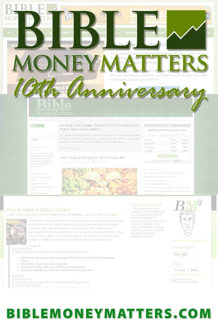 Bible Money Matters has been live on the Internet for over 10 years! I can't tell you how thankful I am that so many of you have spent so much time with us over the years. Here's a look back at the last decade.