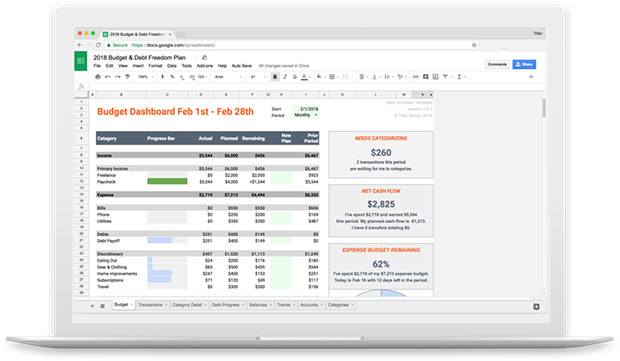 Tiller Money Automated Budget Spreadsheet Review - Spreadsheet View