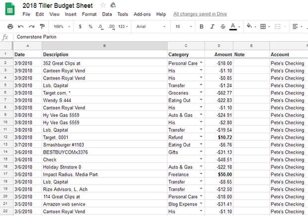 money in and out spreadsheet