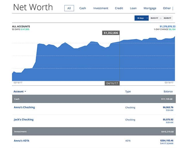 Personal Capital Net Worth Tool Screenshot