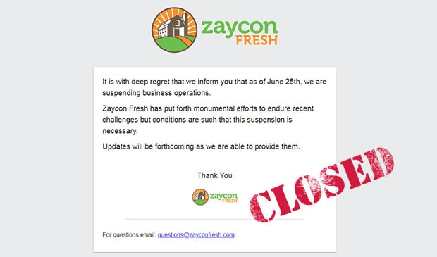 Zaycon Fresh Closed Out Of Business