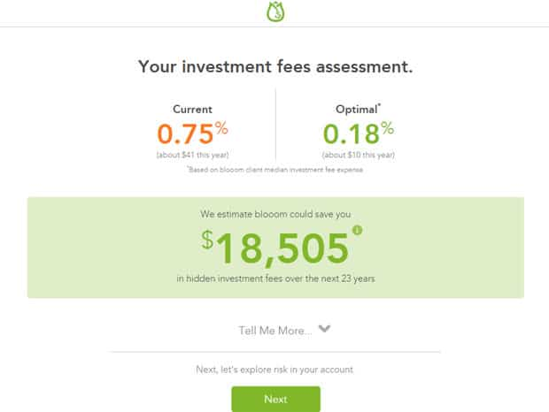 Blooom Review - Fees assessment