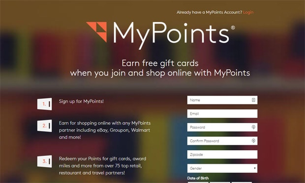 Free Gift Cards by using MyPoints