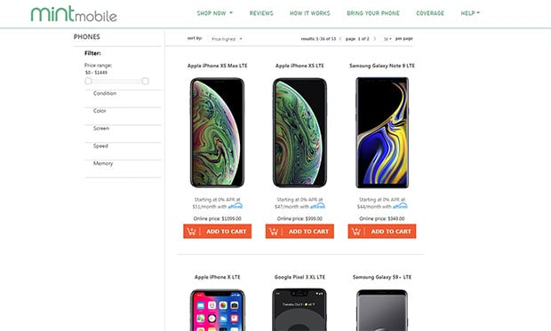 Mint Mobile Review - phones available