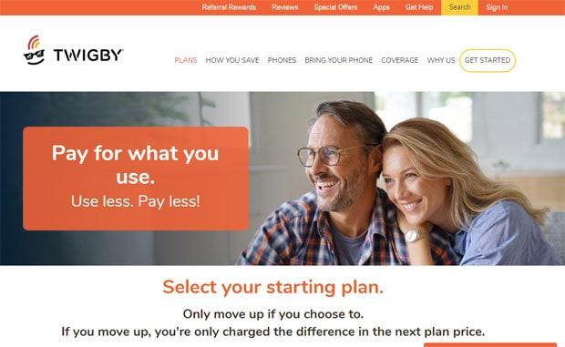 Twigby pregled - web stranica početna stranica