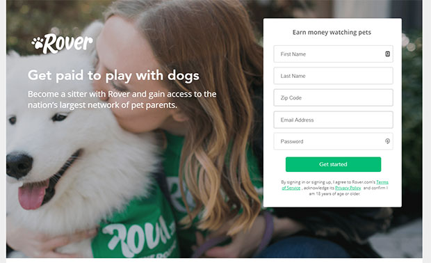 Apps that pay you money - Rover Dog Sitter