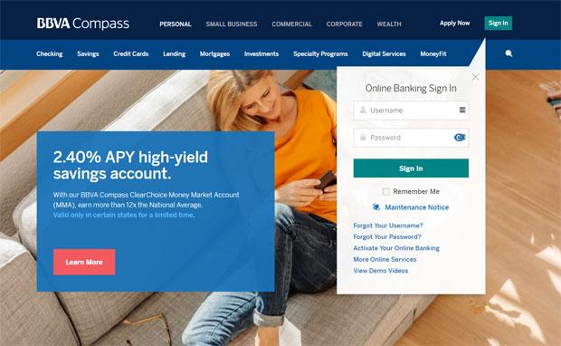 BBVA Compass Bank Review - internetska stranica