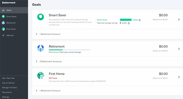Betterment Review - Website Dashboard