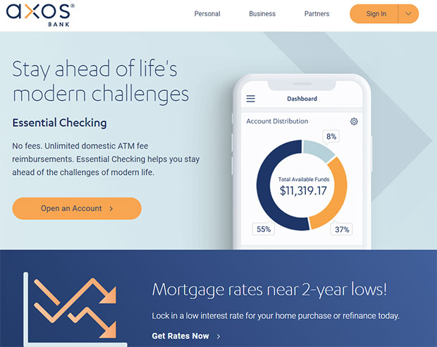 Axos Bank Review - Website Homepage
