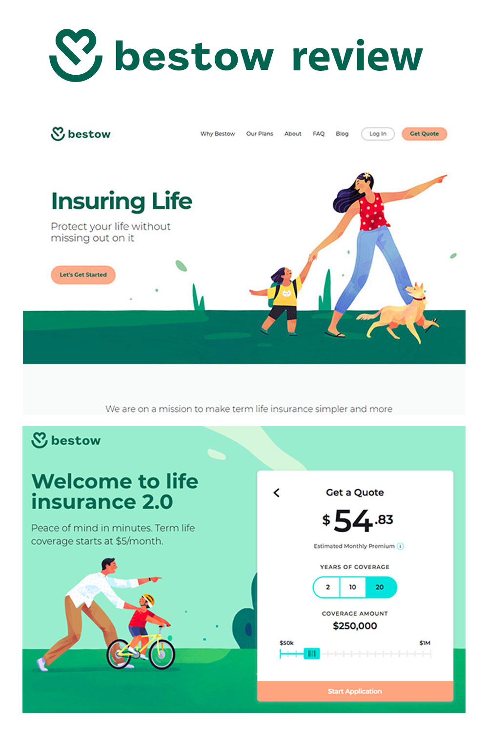 Bestow is making the process of getting life insurance easier, less intimidating and keeping the costs affordable. Get term life with no medical exam!