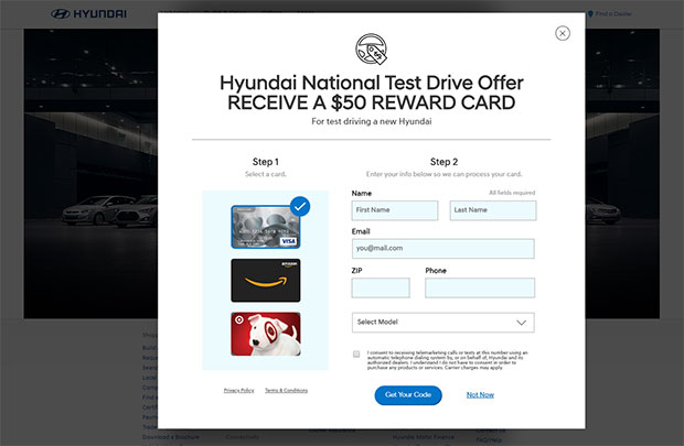 Get free gift cards by doing test drives