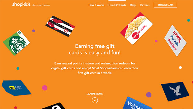 free gift cards by using ShopKick