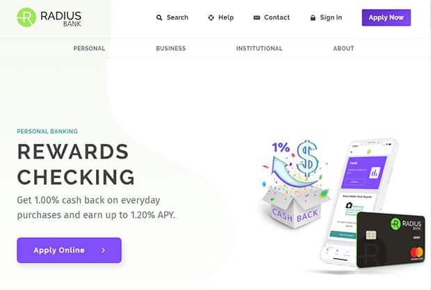 Radius Bank Review - Website Homepage