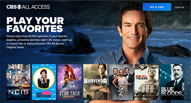 CBS All Access Homepage