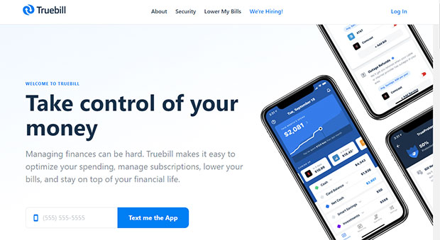 Truebill website