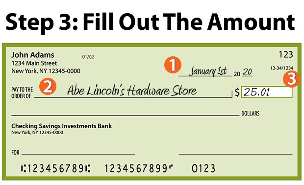 how to write a check - fill out the amount