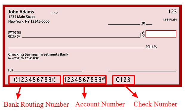 The bank numbers on your check