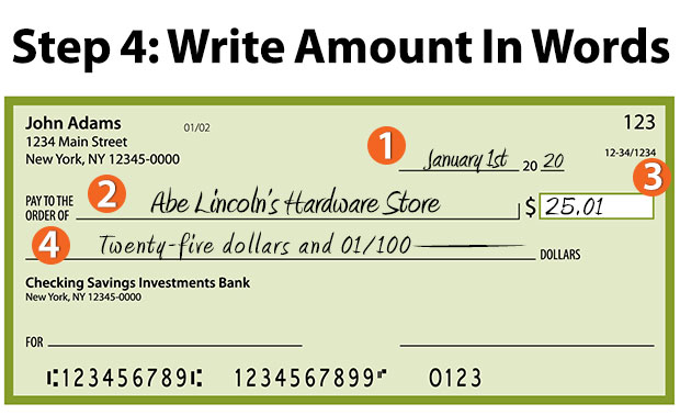 how to write a check - write the check amount in words