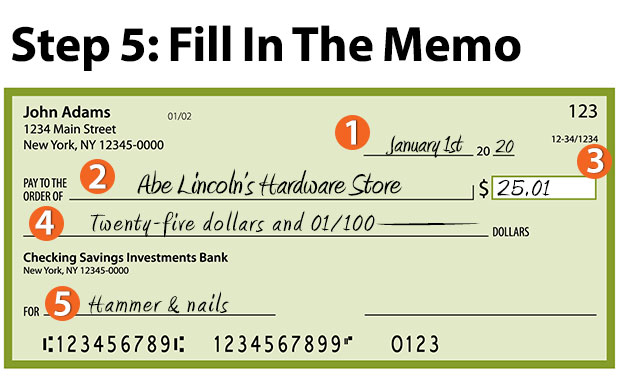 how to write a check - enter the memo line