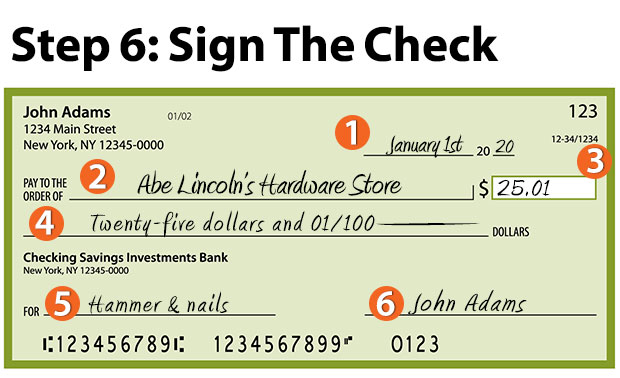 how to write a check - sign the check