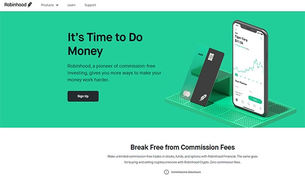Robinhood Commission-Free Investing Used Value