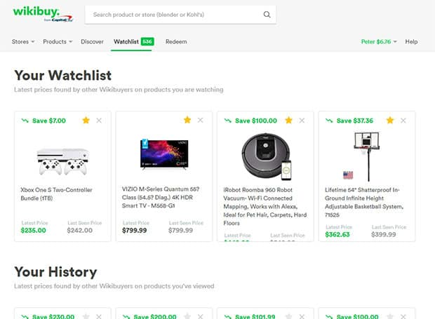 Wikibuy price drop notifications product watchlist