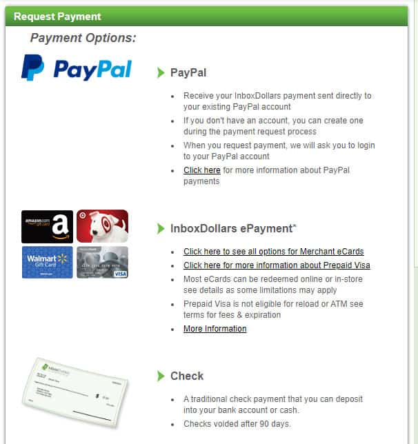 InboxDollars Payment Options
