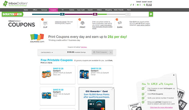 InboxDollars Coupon Section