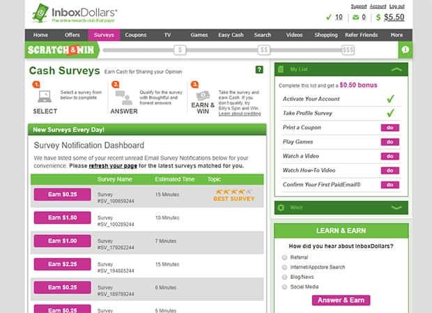 InboxDollars Fill Out Surveys For Cash