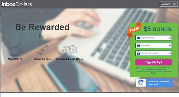 InboxDollars Signup Page $5 Bonus