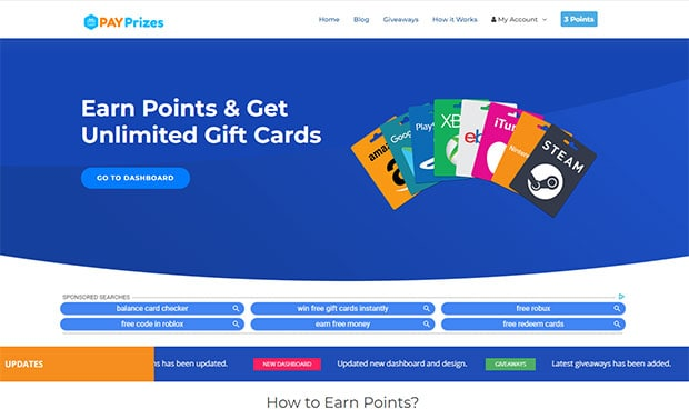 Free Amazon gift cards from PayPrizes