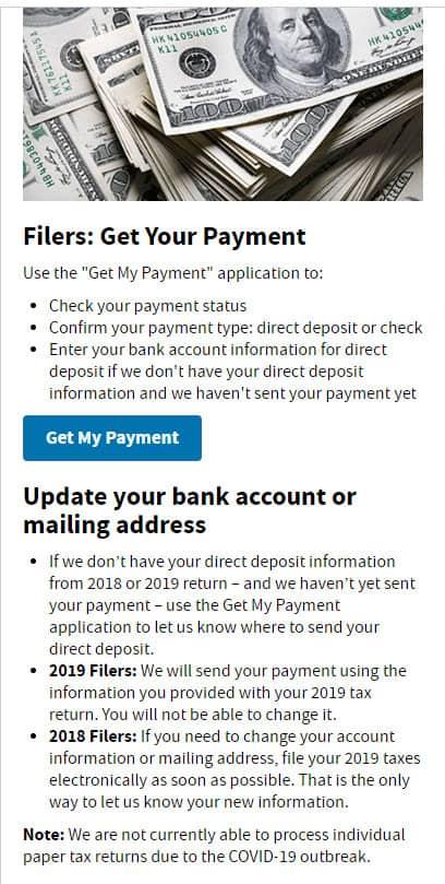 economic impact payment get my payment portal stimulus checks