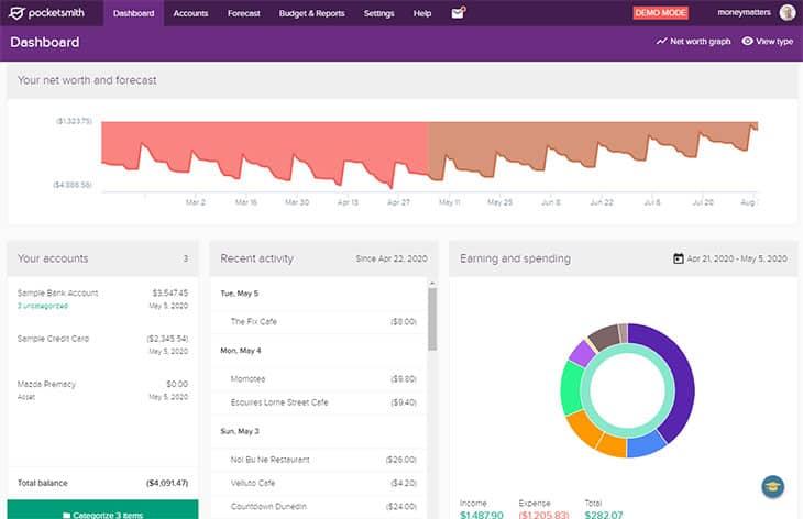 PocketSmith Website Dashboard