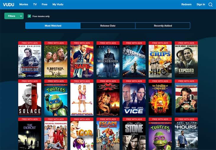 Streaming de filme gratuito - Vudu
