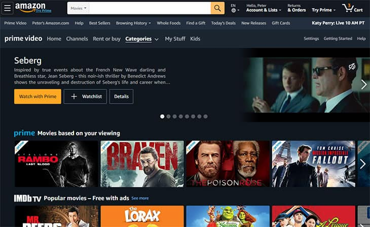 Streaming de filmes gratuito - Amazon Prime