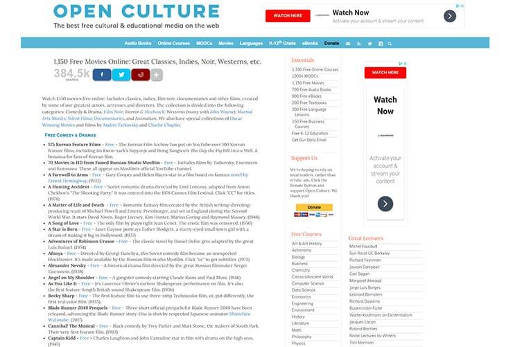 Streams de filmes gratuitos - Cultura aberta