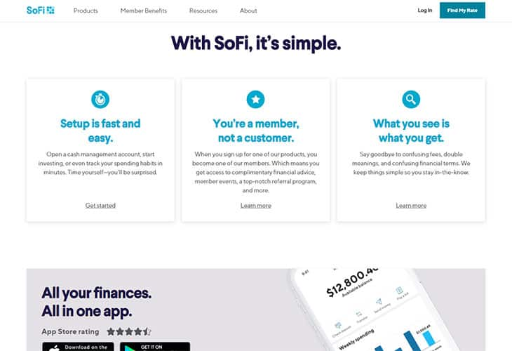 SoFi Review - Website Homepage
