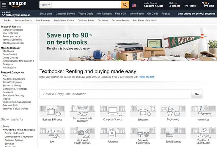 Amazon textbook rentals