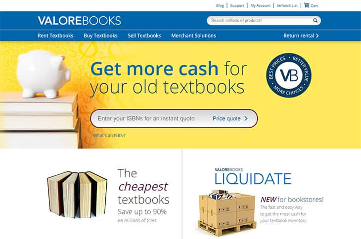 Valore Books textbook rentals